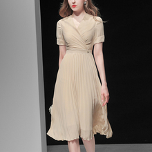 夏季女装205j31新款气ct腰雪纺长裙短袖显瘦中长款连衣裙