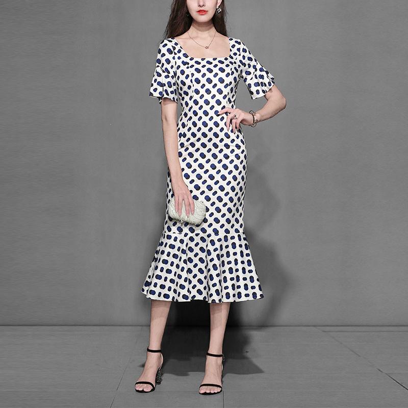 波点复古修身长裙气质印花裙子显瘦中长款连衣裙女装夏装2018新款