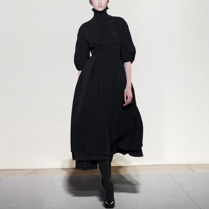秋冬季女装2018新款黑色复古长裙气质长袖裙子OL中长款毛呢连衣裙