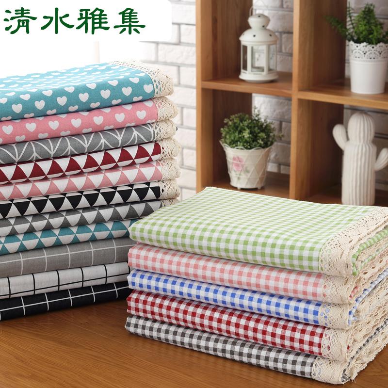 棉麻桌布布艺田园格子圆餐桌布小清新长方形茶几北欧日式网红台布