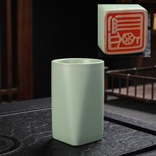 大号汝窑茶杯开yu4可养陶瓷ke夫茶具品茗杯冰裂纹个的杯