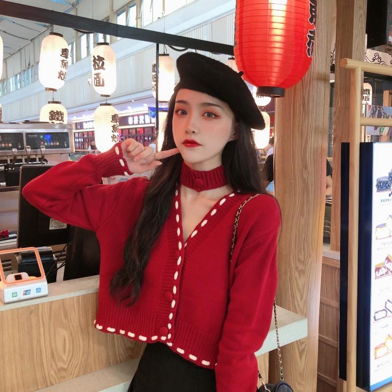 实拍实价网红同款秋季新款V领围脖针织毛衣开衫外套女学生-爆爆糖-