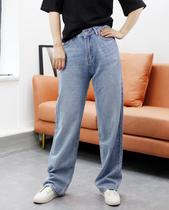 2021春夏新品 女士中高腰浅色直筒牛仔裤休闲宽松长裤 显瘦百搭