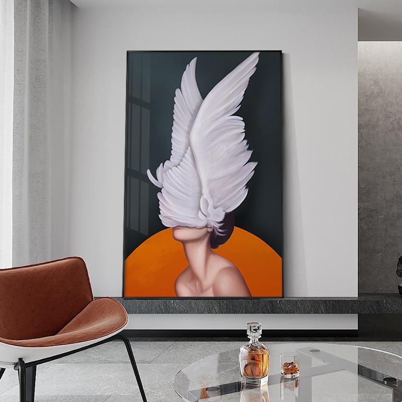 后现代玄关装饰画羽毛少女创意人物抽象大尺寸落地画客厅卧室挂画