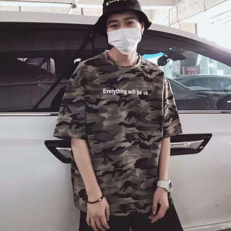 夏季新款圆领宽松迷彩五分袖T恤韩版休闲短袖体恤学生帅气上衣t潮