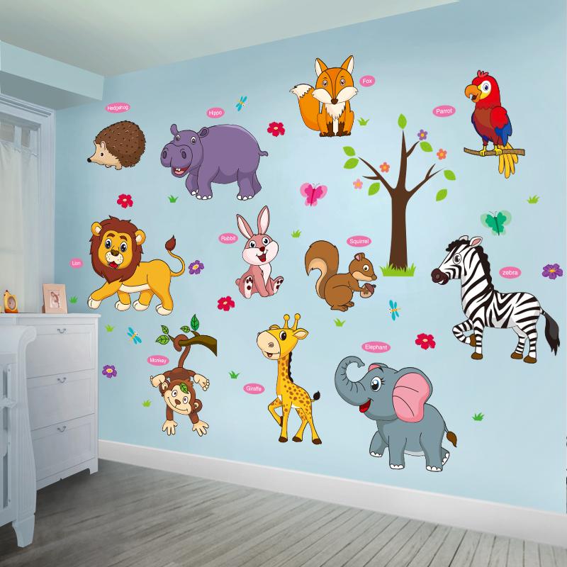 卡通动物墙贴纸儿童房婴儿贴画幼儿园墙面装饰壁纸墙纸自粘3D立体