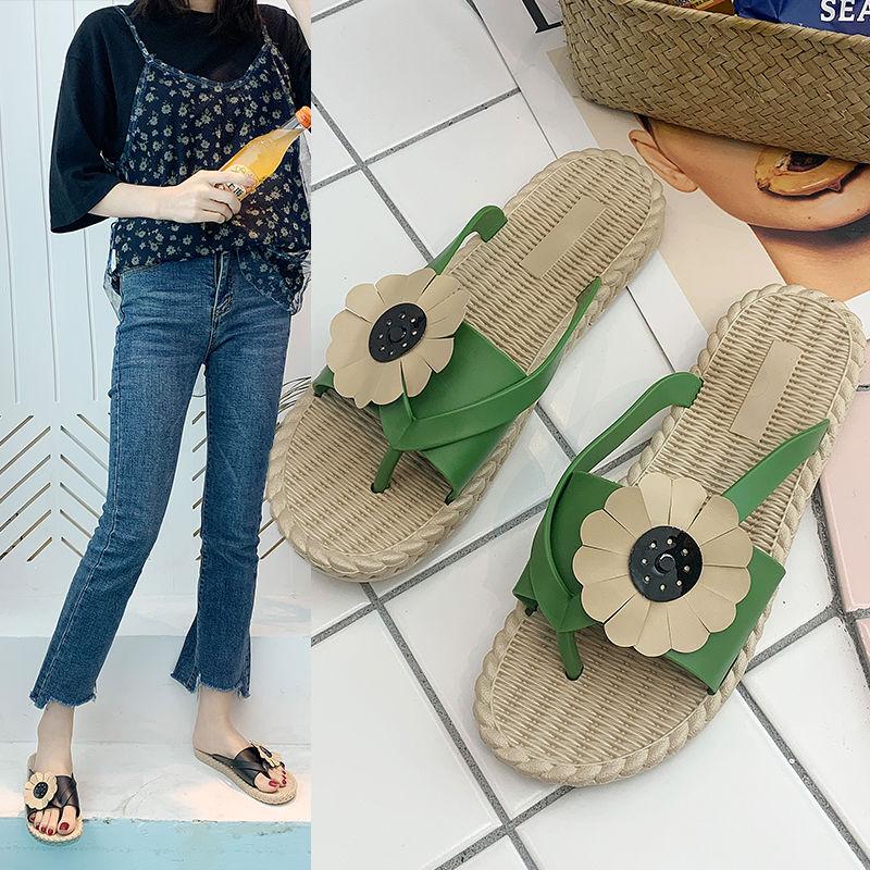 人字拖鞋女外穿2020新款夏季百搭韩版春平底防滑花朵夹趾网红凉拖 -