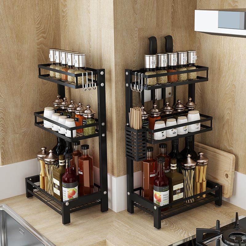 厨房置物架黑色不锈钢刀架多功能厨具用品调味料油盐酱醋收纳架子