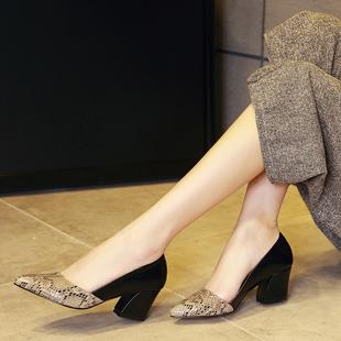 百丽纯爱2020新款女单鞋粗跟高跟浅口职业上班面试真皮工作女鞋子