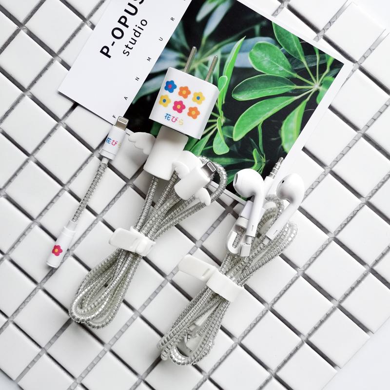 创意iphonex/8p/7/6数据线耳机缠绕绳苹果xs充电器贴纸天使保护套