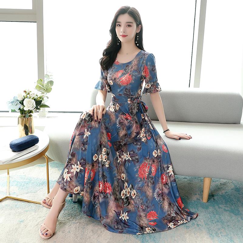 2020夏季新款针织印花时尚连衣裙 -