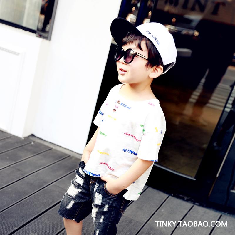 Tinky童装男童印花棉质短袖T恤儿童圆领休闲潮上衣夏季新款打底衫