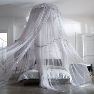 White Grey Dome Mosquito Net Hanging Net Gauze Floor Princess Wind Bed Mantle Stand Free Installation Round Bed 1.8m Double