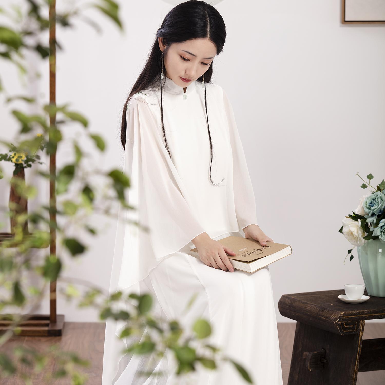 18年春夏装新款中式古典禅意雪纺仙飘逸连衣裙斗篷款手绘复古长裙