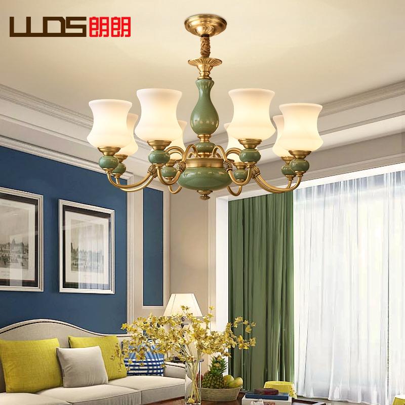 欧式吊灯家用大气全铜吊灯客厅灯现代简约陶瓷灯美式卧室餐厅灯具_朗朗灯饰照明