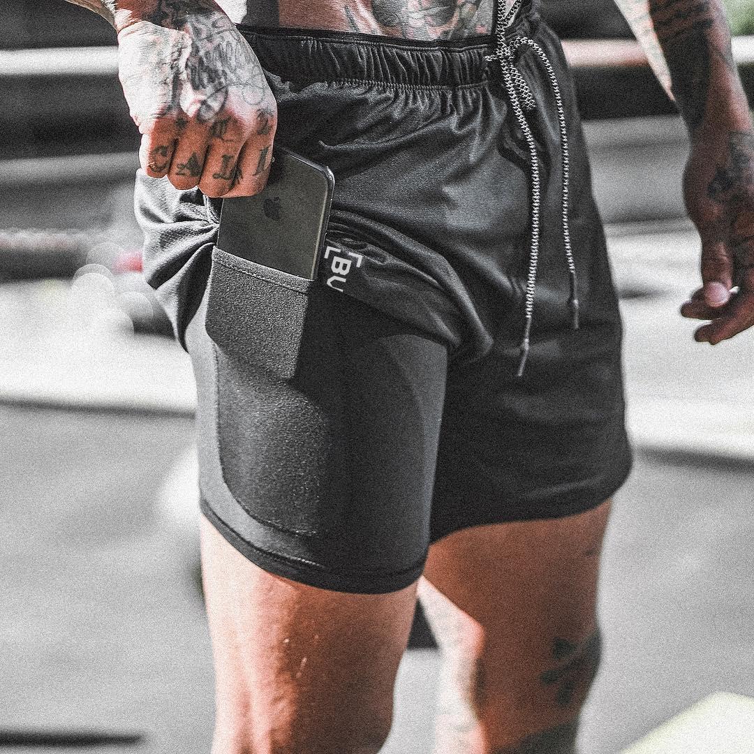 肌肉博士防走光运动短裤男健身速干裤兄弟跑步训练弹力透气五分裤
