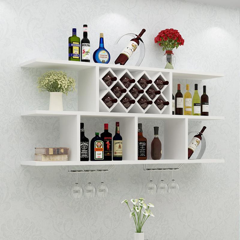 酒柜壁挂简约现代餐厅置物架装饰红酒架墙上客厅家用实木创意格子