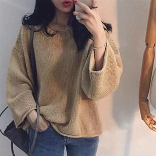 蝙蝠袖针织上衣2018秋装新款韩版百搭复古宽松学生套头毛衣外套女