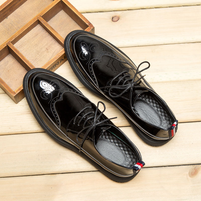 Summer Brock Korean casual leather ventilation trend British patent leather business dress men's suit leather shoes