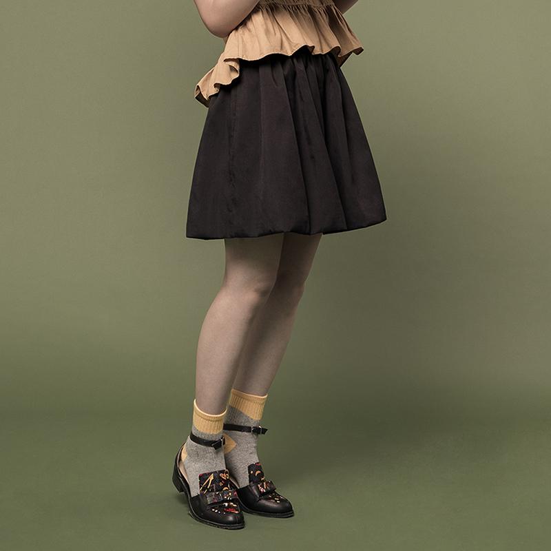 蓬蓬花苞百搭显瘦高腰经典黑色短裙 油果日记 夏日经典复刻!
