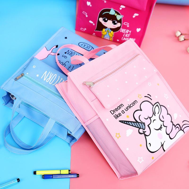 大号书袋文件袋手提袋帆布小学生用美术袋补课包补习补学包可爱包