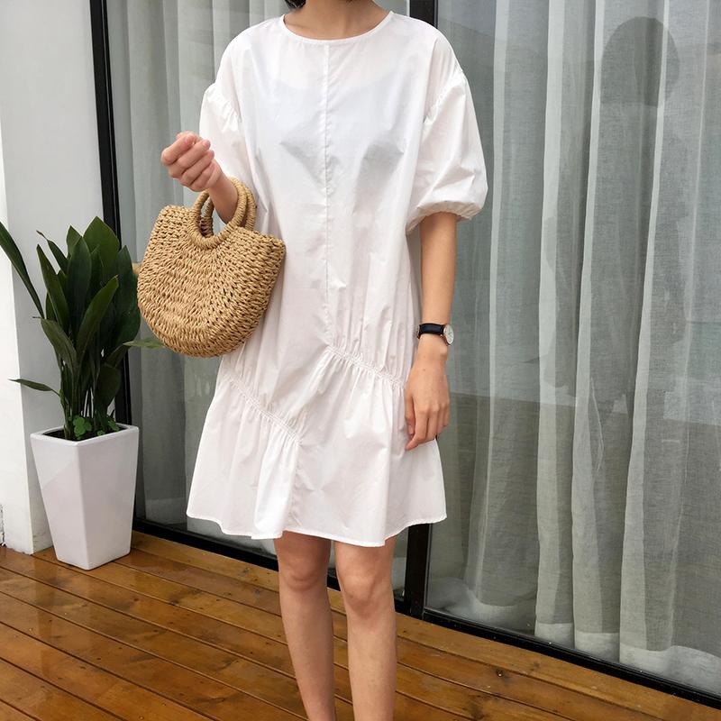 恋上韩时尚 韩国夏 小清新两色褶皱设计感宽松短袖连衣裙女Q4997