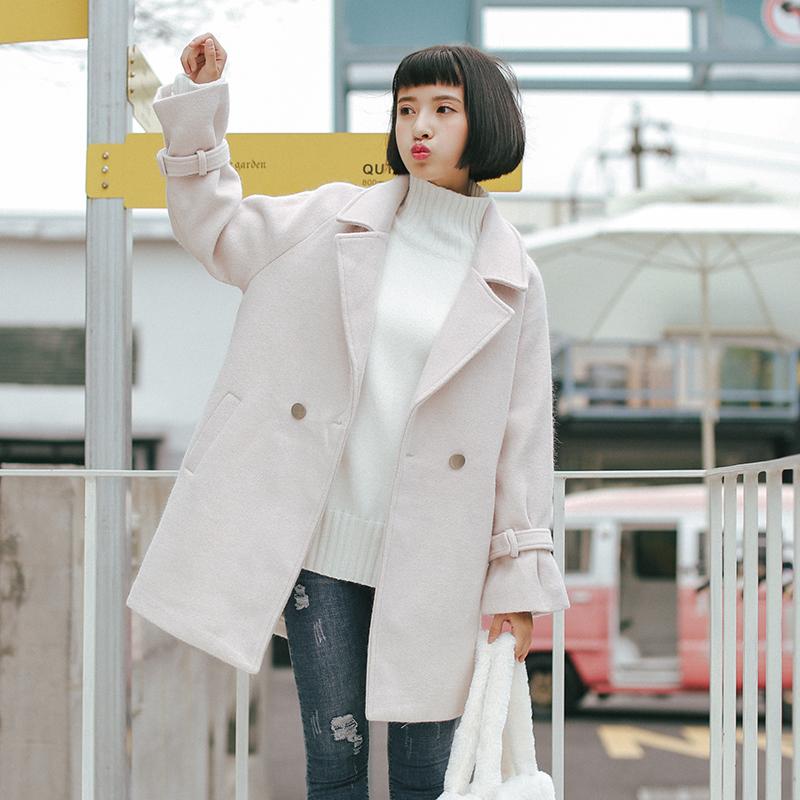 毛呢 外套 新款 秋冬 学生 宽松 小个子 呢子 大衣