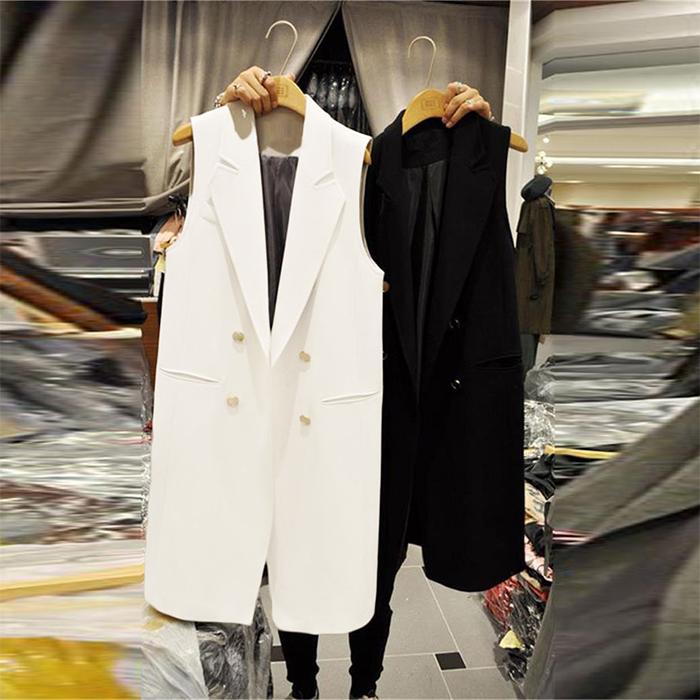 大码无袖修身女式马夹坎肩背心韩版白色新款中长款马甲女春秋外套