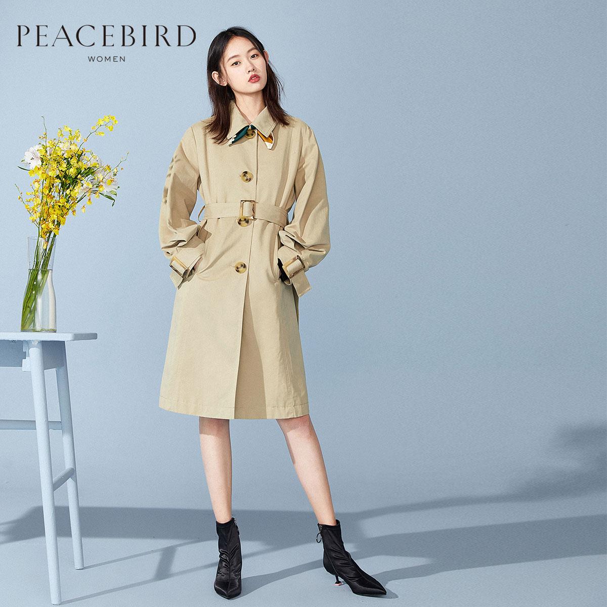 太平鸟风衣女中长款秋装2019新款外套薄款女韩版宽松工装风上衣女