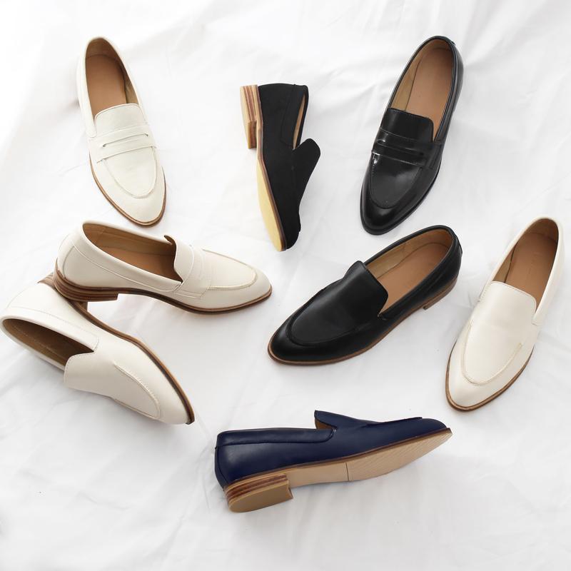 everlane inschic乐福鞋尖头平底休闲鞋木跟真皮一脚蹬复古单鞋女