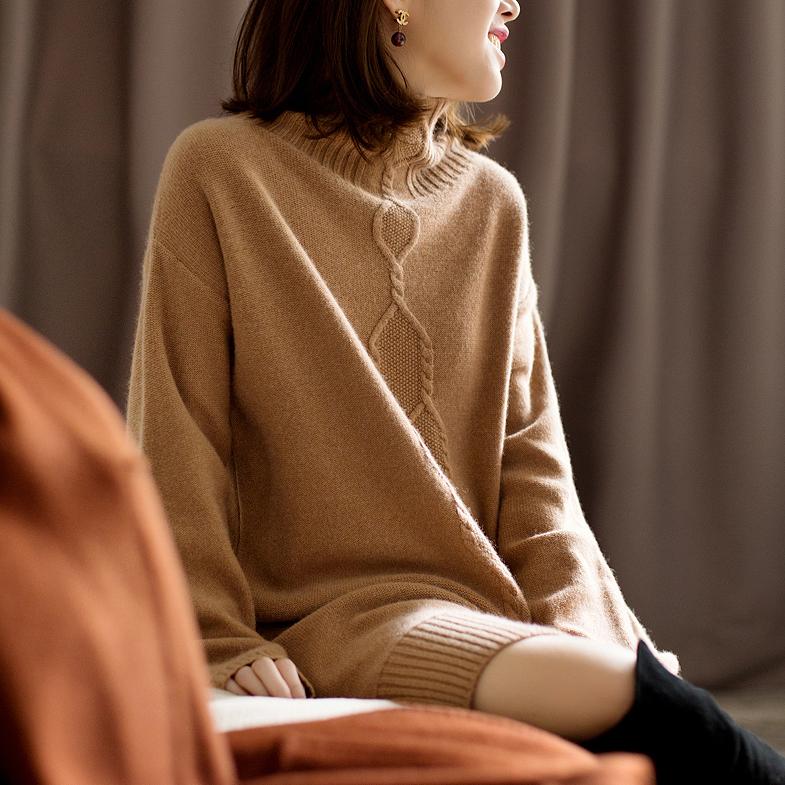 搭配再不用发愁!2017冬款H型直身半高领羊绒前短后长连衣裙女