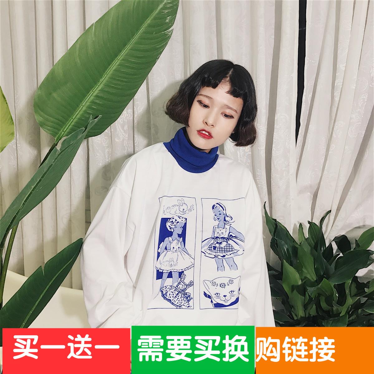 秋冬女装韩版原宿风高领可爱卡通童趣套头卫衣bf宽松长袖上衣学生