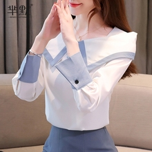 雪纺衬衫女韩款长袖2021新da11气质衬ly肩心机初秋上衣轻熟
