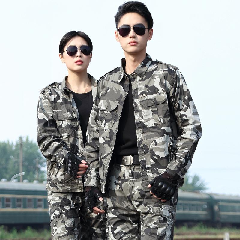 正品新式纯棉迷彩服套装男春秋特种兵军装耐磨作训军训军工女长袖