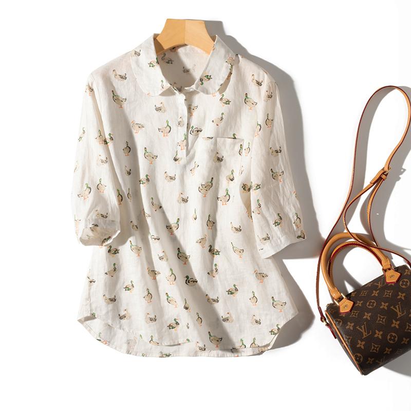 春夏通勤减龄小鸭印花七分袖单侧口袋亚麻衬衫宽松套头罩衫上衣女