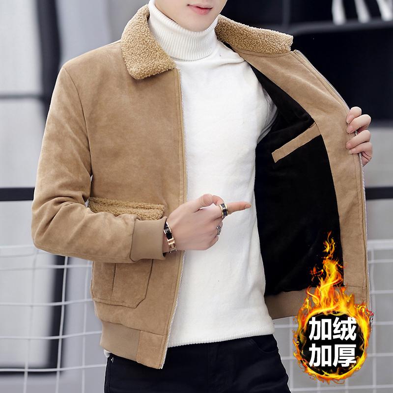 男士冬季2020新款羊羔服外套冬装加绒加厚韩版上衣服毛领男装棉衣