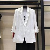 2021年春款新款女装正品白色棉麻亚麻西装西服外套春秋夏季