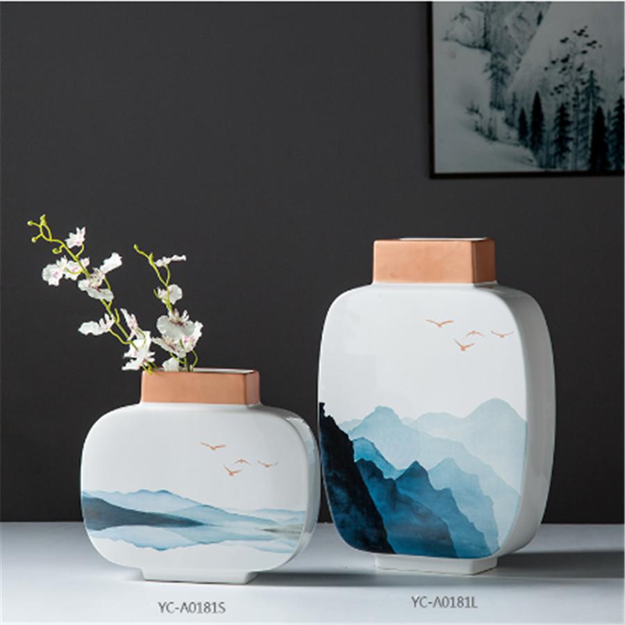 新中式山水风景陶瓷干花花瓶客厅插花电视酒柜玄关家居装饰品摆件_不