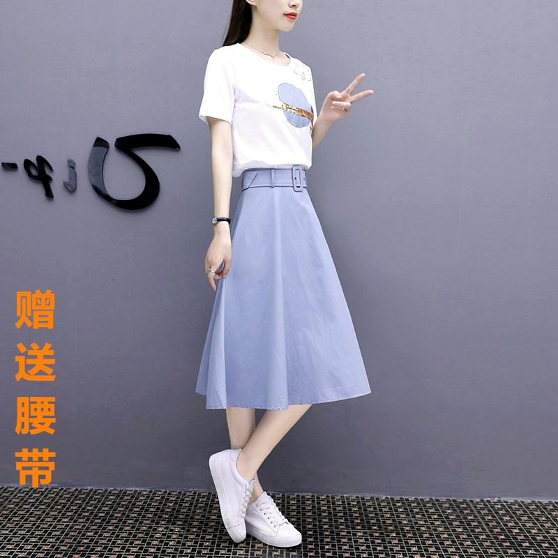 连衣裙套装女夏2019新款韩版显瘦两件套中长款学生小清新洋气裙子