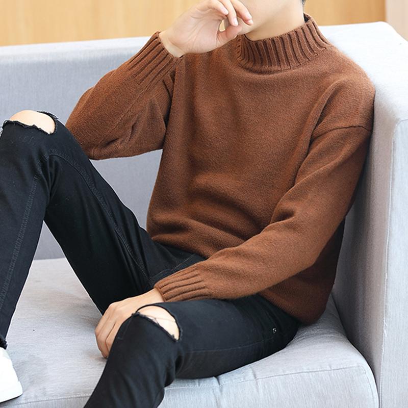 2017新款半高領毛衣男韓版秋鼕款長袖T恤打底針織衫男士秋裝潮流