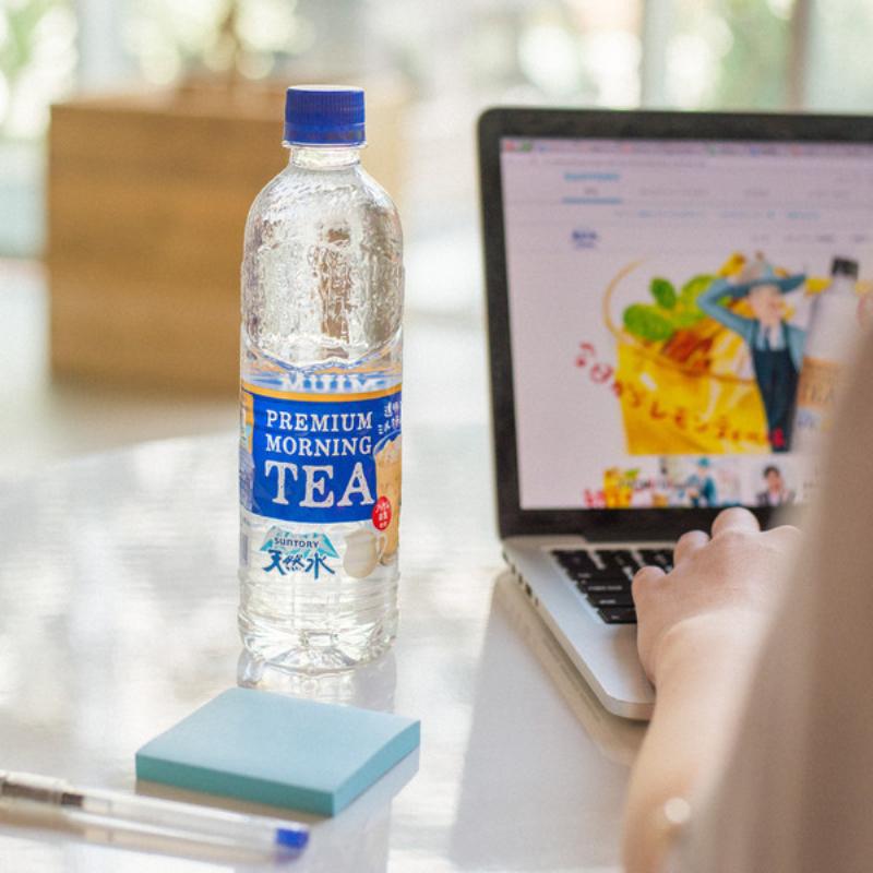 包邮日本进口suntory三得利天然水矿泉水透明奶茶阿萨姆红茶550ml