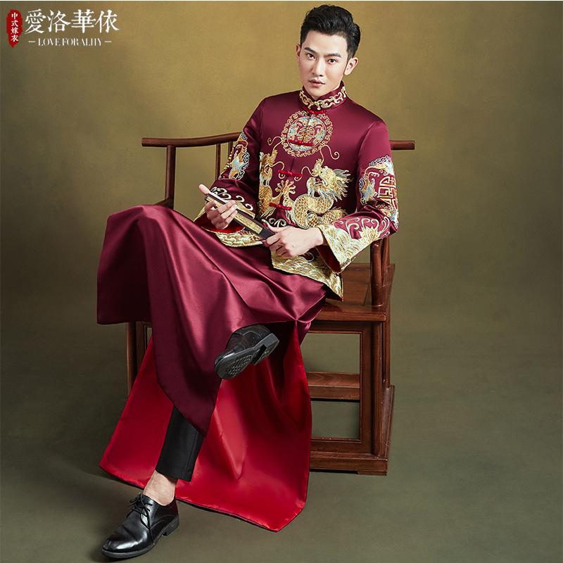 新郎秀禾服男装2021新款冬季男士敬酒服中式结婚古代唐装男款秀禾