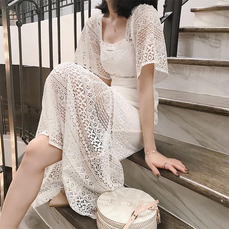 法国小众很仙的连衣裙2019新款夏季法式复古裙过膝很仙蕾丝桔梗裙