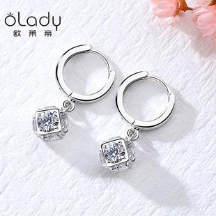 925银水晶魔方耳环耳钉女气质韩国个性简约百搭长款耳扣耳吊耳坠