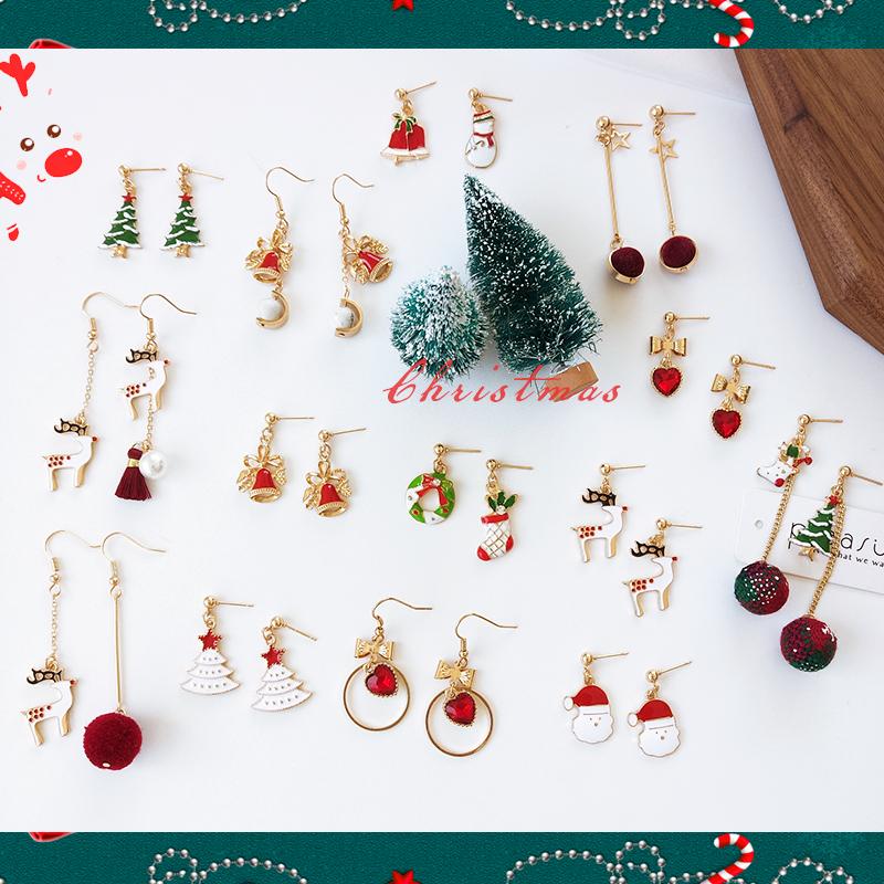 麻子秀圣诞系列耳环松树鹿老人简约长款流苏毛球耳坠爱心耳钉耳夹