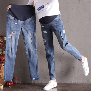 孕妇牛仔裤春秋孕妇裤宽松孕妇裤