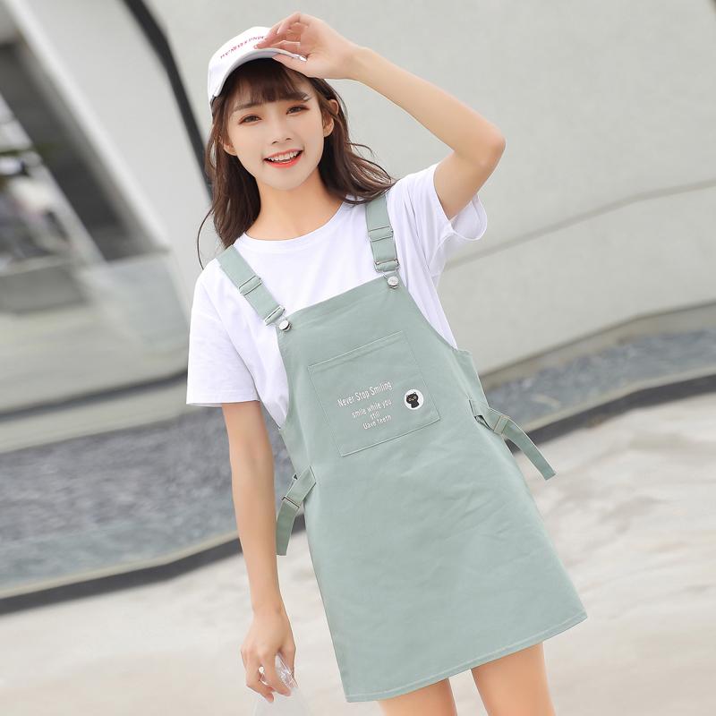 清新 夏季 学生 背带 套装 甜美 少女 可爱 两件套 裙子