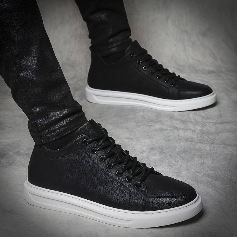 2018秋季新款板鞋男韩版休闲潮流内增高英伦鞋子男学生百搭男鞋
