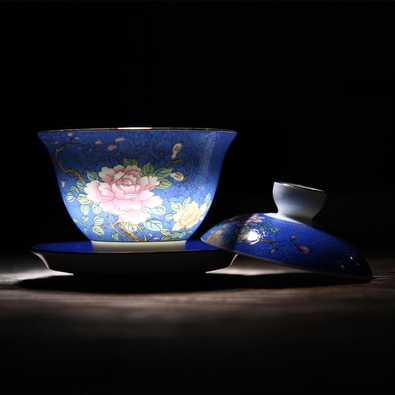 陶生活景德镇陶瓷盖碗茶具手绘渐变扒花三才盖碗茶杯大号泡茶茶碗