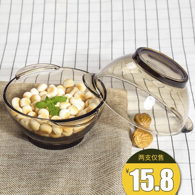 青苹果 家用 双耳 茶色 玻璃碗 甜品 沙拉 泡面 水果 麦片